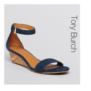 Tory Burch Teal Blue Wedge Cork Sandals 7.5